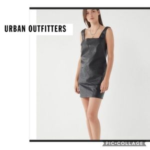 Urban Outfitters sz XL faux black leather Pinafore